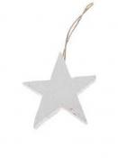 Drevená hviezda 7cm - biela