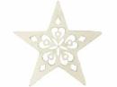 Drevený výrez hviezdička 5 cm - folk biela