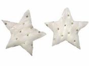Drevený výrez hviezda s kožušinkou 5 cm - biela