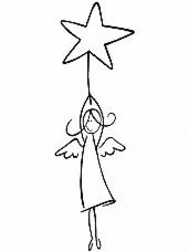 Drevená pečiatka - anjel s hviezdou