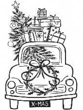 Drevená pečiatka - vianočné auto
