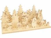 Drevená vianočná dekorácia - krajinka - medvedíky
