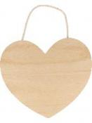 Drevená závesná doštička - srdce 25cm