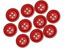 Drevené červené gombíky 20 mm - 10 ks