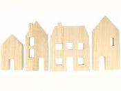 Drevené domčeky - sada 4ks