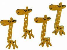 Drevené gombíky žirafa 4 cm - sada 4 ks - žlté