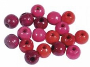 Drevené korálky 6 mm mix - 116ks - červené