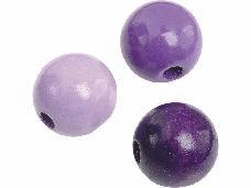Drevené korálky 12 mm mix - 30 ks - fialové