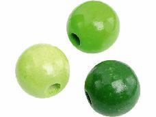 Drevené korálky 12 mm mix - 30 ks - svetlé zelené
