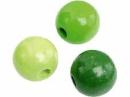 Drevené korálky 6 mm mix - 125 ks - svetlé zelené