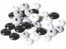 Drevené korálky šošovičky 10 mm mix - 33 ks - čierne