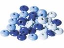 Drevené korálky šošovičky 10 mm mix - 33 ks - modré