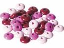 Drevené korálky šošovičky 10 mm mix - 33 ks - ružové