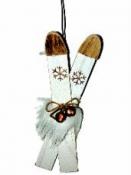 Lyže - vianočná závesná dekorácia 13,5 cm - biele