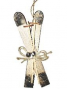 Lyže - vianočná závesná dekorácia 17 cm - prírodné