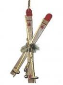 Lyže - vianočná závesná dekorácia 22 cm - prírodné