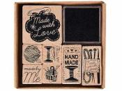 Drevené pečiatky - sada- Made with love