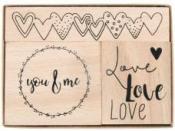 Drevené pečiatky - sada - Láska