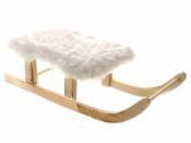 Drevené sane 20 cm s bielou kožušinou
