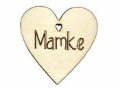 Drevený výrez srdce 5cm - Mamke