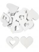 Drevený výrez srdce s výrezom 4cm - biele