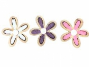 Drevené výrezy kvety 3,5 cm - sada 3ks - farebný mix