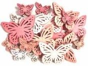 Drevené výrezy motýle 18ks  - ružový mix