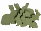 Drevené zajace 6 - 11 cm - sada  9 kusov