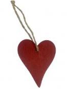 Drevené závesné srdce 5cm - červené