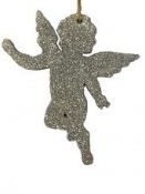 Drevený anjel 10 cm - strieborný gliter