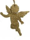 Drevený anjel 10 cm - zlatý gliter