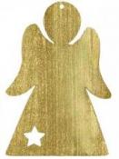 Drevená závesná dekorácia anjel 10 cm - zlatý