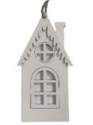 Drevený dekoračný domček 13 cm - biely