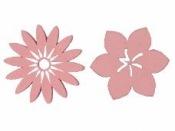 Drevený výrez kvet ibištek 3cm - ružový