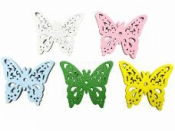 Drevený motýľ 3 cm - biely