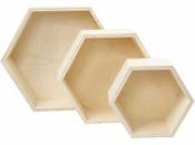 Drevené podnosy 3v1 28x10cm -Hexagon