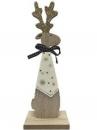 Vianočná drevená dekorácia sob s kravatou 23 cm