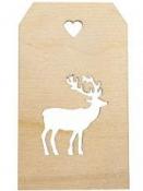 Drevený štítok 4,8x8,2 cm - s jeleňom