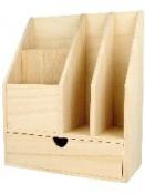 Drevený stolový organizér/stojan na listy, písacie potreby