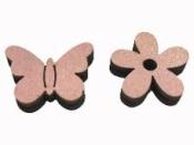 Drevený výrez 2 cm motýľ - ružový