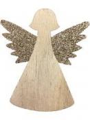 Drevený výrez anjel s glitrovanými krídlami 9 cm - zlatý