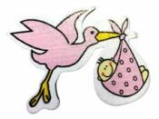Drevená ozdoba - bocian ružový