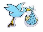Drevená ozdoba - bocian modrý