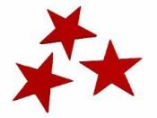 Drevený výrez hviezda 4 cm - červená