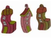 Drevene výrezy domčeky 3 ks - 4cm