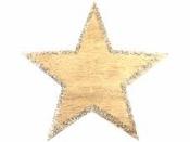 Drevený výrez hviezda s glitrovaným okrajom 8 cm - zlatá