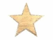 Drevený výrez hviezda s glitrovaným okrajom 6 cm - zlatá