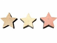 Drevený výrez hviezdička 2 cm - vintage hnedá