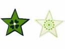 Drevený výrez hviezdička 3,5 cm - folk zelená