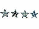 Drevený výrez hviezdička 3,5 cm - modré tmavé káro